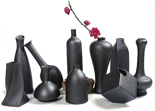 Dehua Porcelain 4 -7 Black Ceramic Decorative Mini Vase- set of 10