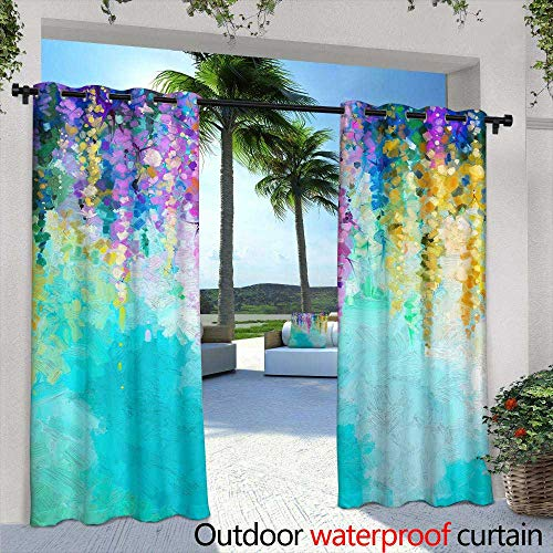 berrly Fashions Drape,Halloween Girl with Sugar Skull Makeup, Watercolor Painting,W72 x L108 Outdoor Curtain for Patio,Outdoor Patio -