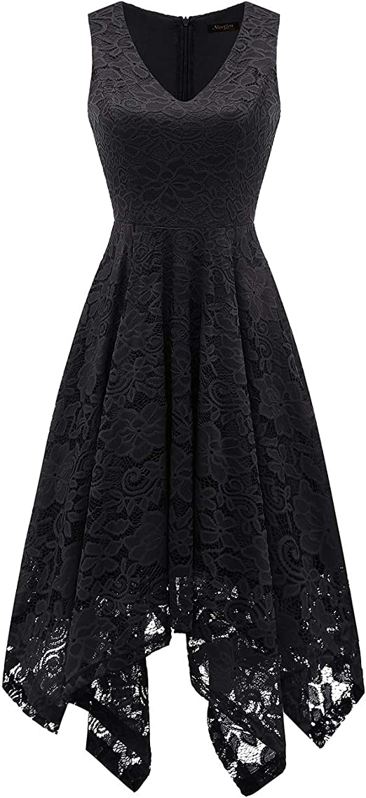 Women's Vintage Floral Lace Handkerchief Hem Dress