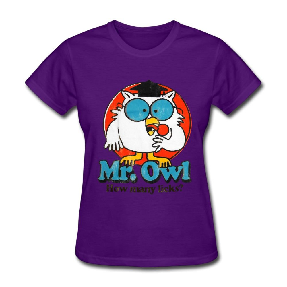 Hierod Mr.Owl How Many Licks Women's Round Neck Summer Fashion Short-Sleeved T-Shirt.