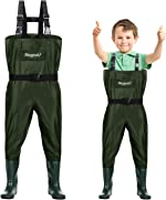 Magreel Kids Chest Waders Waterproof Nylon/PVC Youth Waders with Boots Fishing