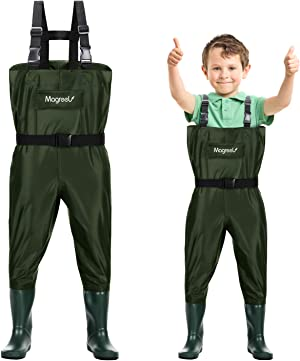 Magreel Kids Chest Waders Waterproof Nylon/PVC Youth Waders with Boots Fishing & Hunting Waders for Toddler & Children, Boys & Girls, Army Green, Age 2-13