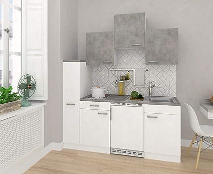 Respekta Keuken Minikeuken Enkele Keuken Kitchenette Inbouwkeuken 180 Cm Wit Beton Amazon Nl