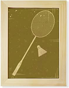 DIYthinker Sport Badminton Illustration Pattern Desktop Adorn Photo Frame Display Art Painting Wooden