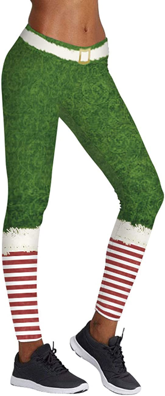 KIACIYA Yoga Leggings Damen Teenager M/ädchen Weihnachten Streifen Bunte Cosplay Push Up Yoga Hosen Gestreift Lustig 3D Druck Leggin High Waist Sportleggins Jogginghose Training Fitness Pant