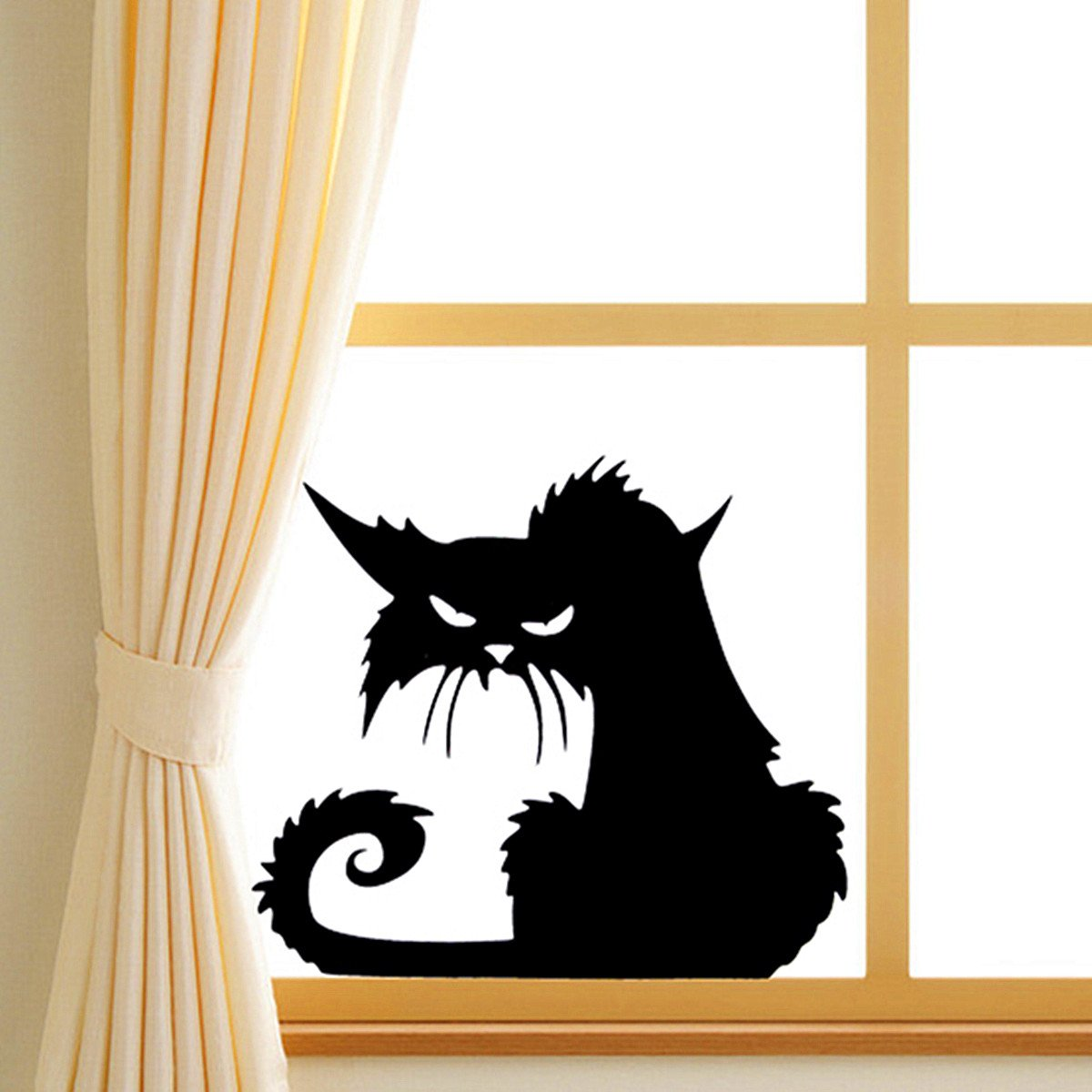 Amazon.com: Halloween Scary Black Cat Glass Sticker Halloween Decor//Halloween de miedo etiqueta de vidrio gato negro de halloween decoración: Home & ...