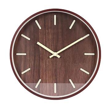 14 pulgadas Reloj de Pared de Cuarzo Estilo nórdico Reloj de Madera Silent Relojes de Pared