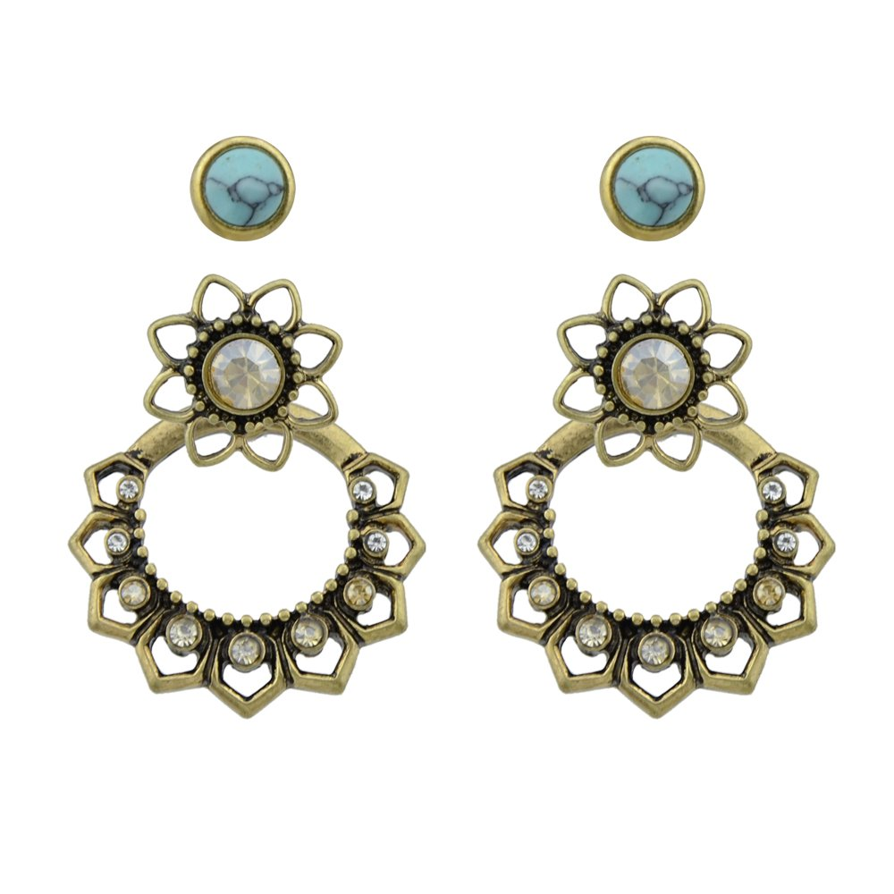 Feelontop® Ethnic Boho Chic Earrings Ear Jacket Antique Gold Tone Crystal Flower Stud with Jewelry Pouch ER-7869