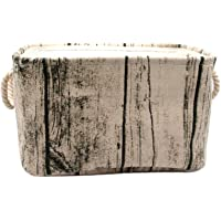 Jacone Stylish Tree Stump Design Wood Grain Rectangular Storage Basket Washable Cotton Fabric Nursery Hamper with Rope Handles, Decorative and Convenient for Kids Rooms (Small)