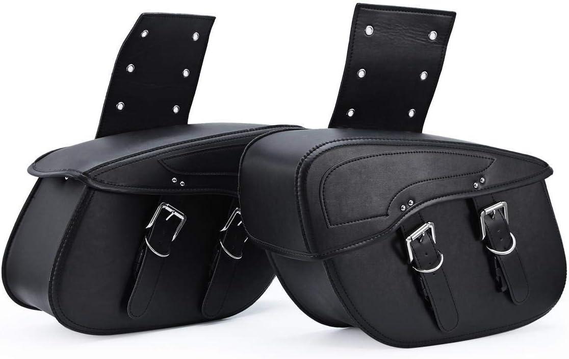INNOGLOW 2pcs Motorcycle Waterproof Saddle Bags Synthetic Leather 2-Strap Saddle bag Tool Bag Black Universal for Harley Davidson Yamaha Honda Kawasaki Suzuki Ducati KTM Cruiser Bobber Chopper