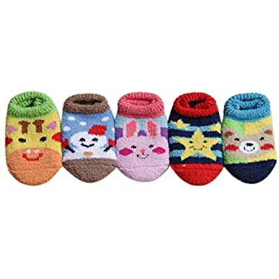 10 Pairs Warm Baby Boys Girls Socks Antiskid Coral Cashmere Socks (1-2 years old)