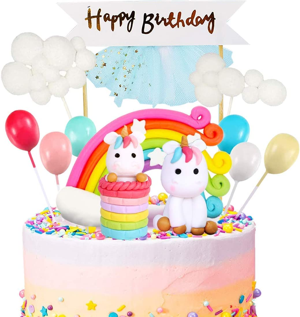 Fantastic Amazon Com Movinpe Unicorn Cake Topper Kit Cloud Rainbow Balloon Birthday Cards Printable Giouspongecafe Filternl