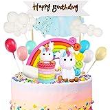 iZoeL Unicorn Cake Topper Kit Cloud Rainbow Balloon Happy Birthday Banner Cake Decoration Pack of 12 For Boys Girls Kids…