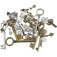 Mila-Amaz Hangers/charms, antiek, metaal, Steampunk-stijl met skelet en tandwielen, om zelf sieraden te maken