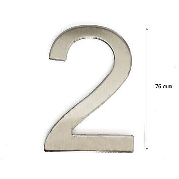 N/úmero para casas acero inoxidable adhesiva, altura 7.5/cm, N/úmero de casa, n/úmero de puerta Design