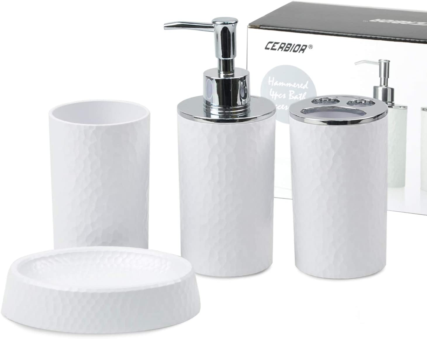 CERBIOR Bathroom Accessories Set 4 Piece Bath Ensemble Includes Soap Dispenser, Toothbrush Holder, Toothbrush Cup, Soap Dish for Decorative Countertop and Housewarming Gift, White: Home & Kitchen