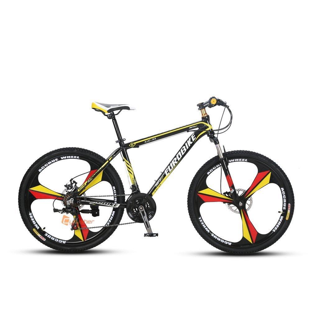 Extrbici X3 マウンテンバイク 自転車 MTB 26インチ シマノ21段変速 アルミニウム ディスクブレーキ サスペンション クロスバイク 通勤用 B071S5TN93黄色