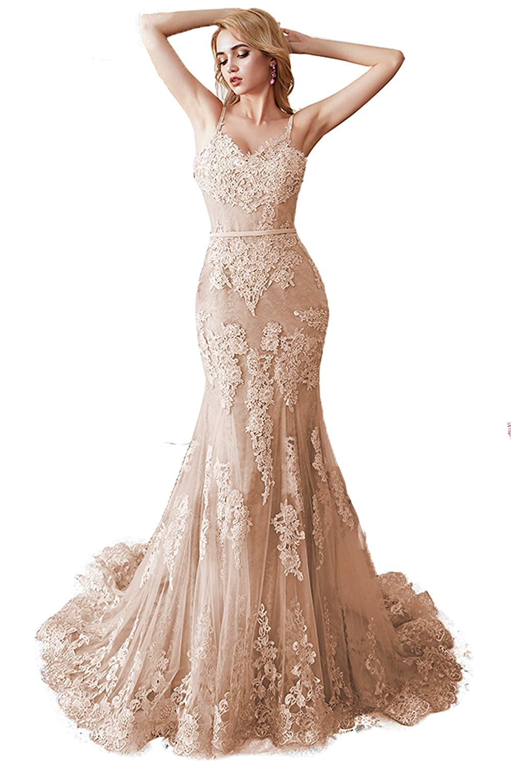 Champagne Promworld Women's Spaghetti Strap Lace Applique Mermaid Prom Dress Tulle Formal Dress Evening Gowns