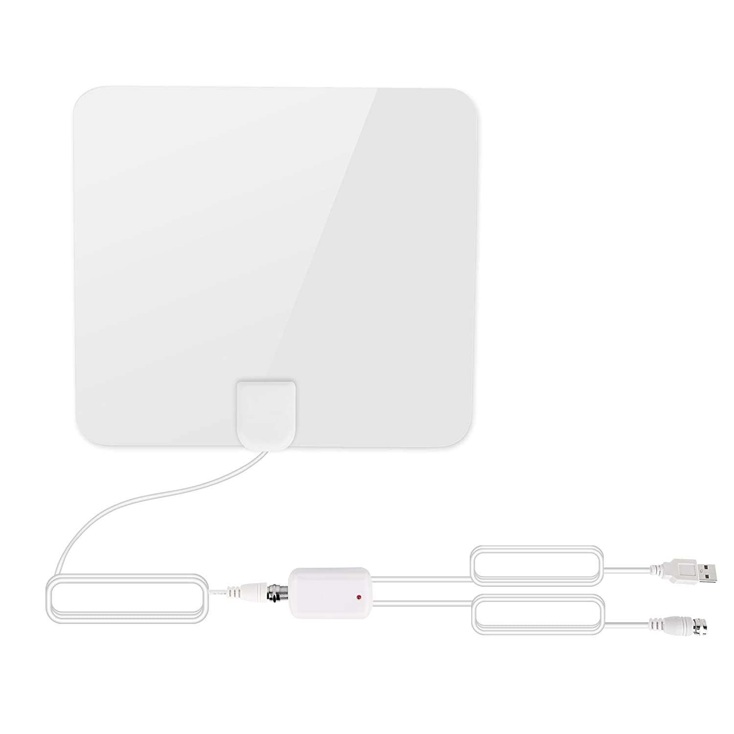 AmYin Digital TV Antenna with Signal Amplifier and 16.3 feet Cable (50 Miles Range, White)