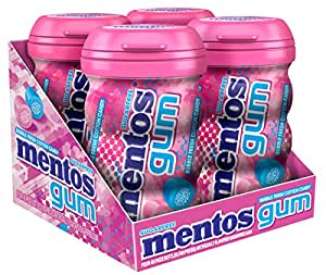 Mentos Sugar-Free Chewing Gum, Bubble Fresh Cotton Candy, 45 Piece Bottle (Pack of 4)