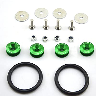 Amooca Green Finish JDM Quick Release Fasteners For Car Bumpers Trunk Fender Hatch Lids Kit: Automotive