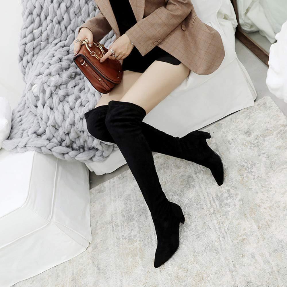 KFDQ Stiefel Für Damen Kniehohe Kniehohe Kniehohe Kalb-Biker-Stiefel, Dicke Ferse Mit Spitzem, Hohem Beinstiefel, Web-Celebrity-Oberschenkelhöhe Stiefel   34-43 b0c439