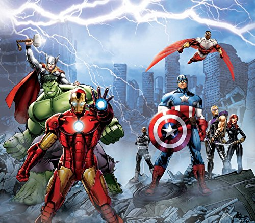 1art1 The Avengers Window Curtain - Iron Man, Hulk, Captain America and Thor (71 x 63 inches) from 1art1