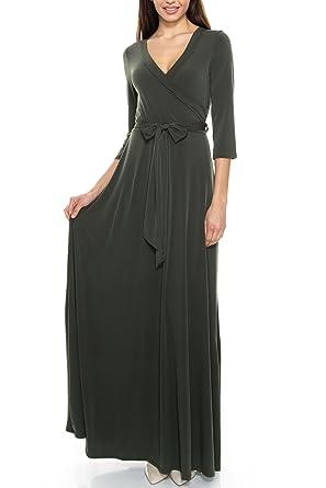 e07ff1a6e0 KLKD A122 Women s Solid Self-tie Surplice Maxi Faux Wrap Dress Olive Small