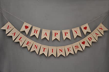 Amazon Com Happy Valentine S Day Banner Love Burlap Banner