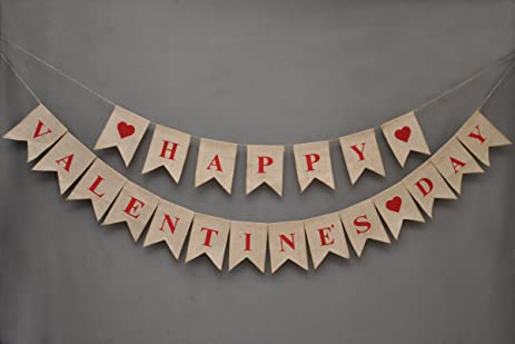 Happy Valentineu0027s Day Banner   Burlap Banner   Window And Door Cling   Valentine  Day Bunting