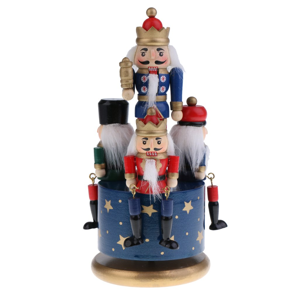Flameer Handmade Wooden Nutcracker Music Box Wind Up Clockwork Toy Soldier Figures Home Decor Ornaments Collectibles - Blue