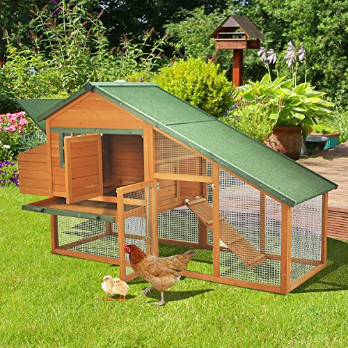 Pawhut 88 Wooden Backyard Slant Roof Hen House Chicken