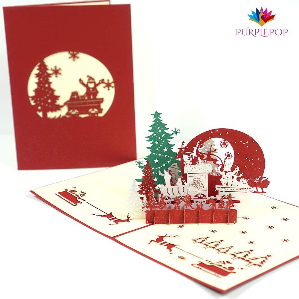 Wedding & Anniversary Bands 2019 3d Pop Up Holiday Greeting Cards Santas Sleigh Deer Christmas Gift