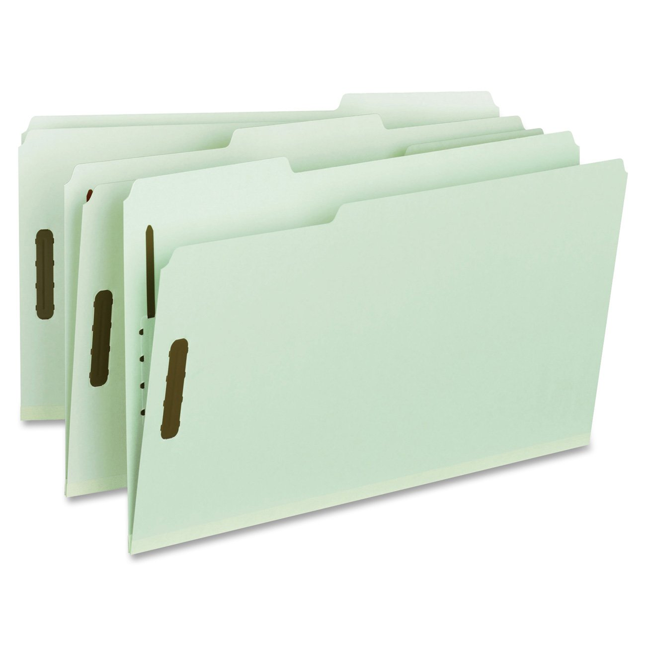 Smead 100% Recycled Pressboard Fastener File Folder, 2 Fasteners, 1/3-Cut Tab, 1'' Expansion, Legal Size, Gray/Green, 25 per Box (20003) by Smead