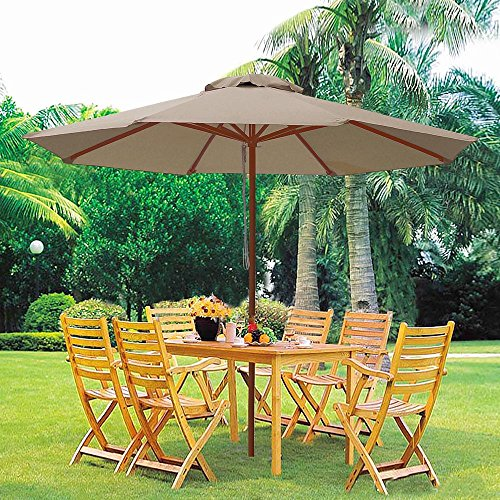 9ft Wooden Outdoor Patio Table Umbrella W/ Pulley Market Garden Yard Beach Deck Cafe Decor Sunshade 61b0OXJCWxL