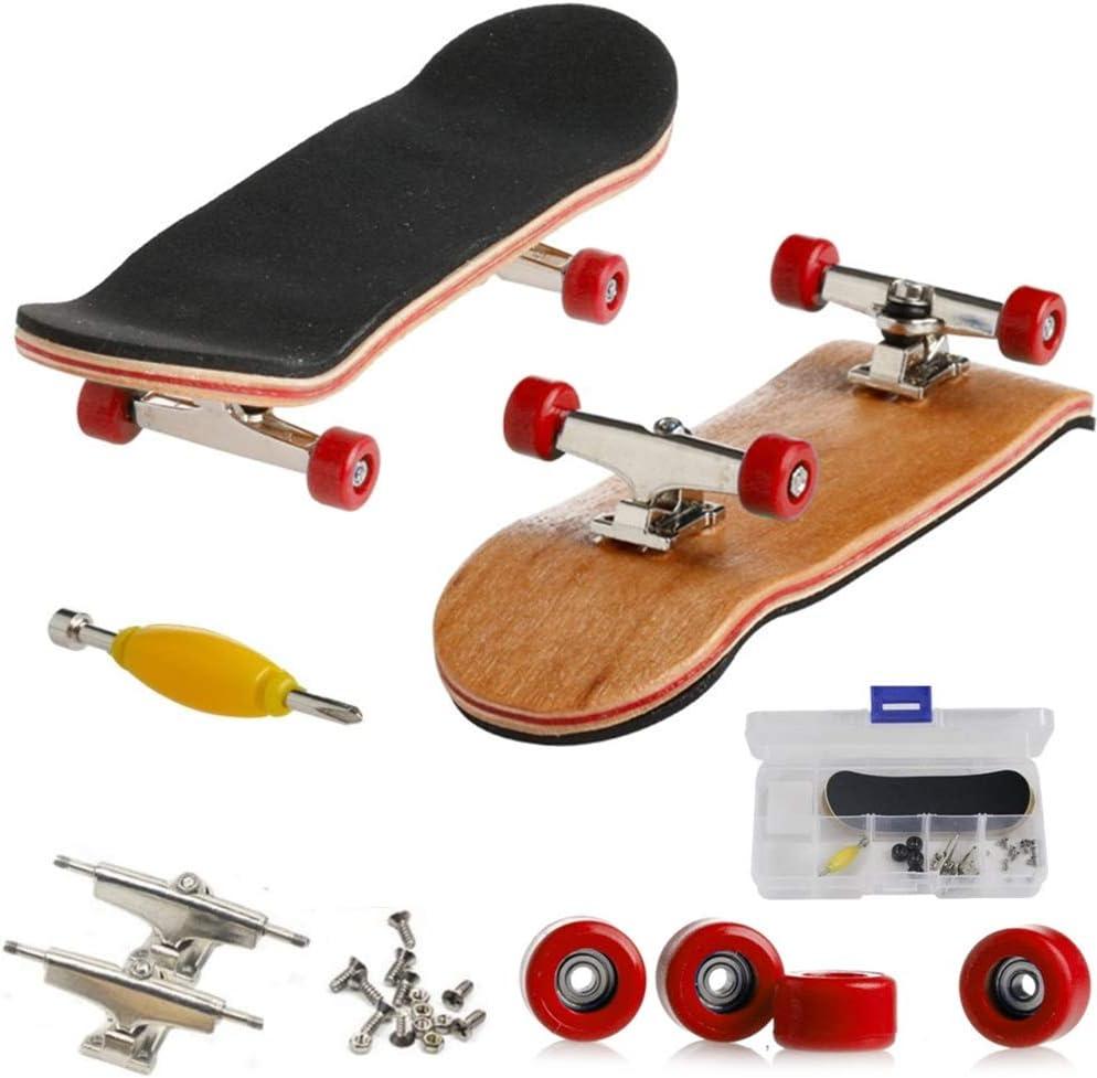 Mini Diapasón, Patineta de Dedos Profesional Maple Wood DIY Assembly Skate Boarding Toy Juegos de Deportes Regalo de Navidad Para Niños (Rojo)
