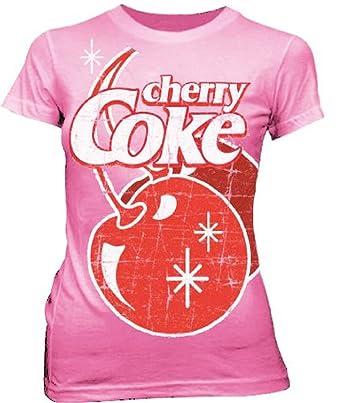 Amazon.com: Coke Coca-Cola Big Cherry Coke Stars Pink Juniors T ...