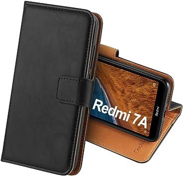 GeeRic Funda Compatible para Xiaomi Redmi 7A,Función de Soporte Ranura para Tarjeta Imán Antideslizante Correa de Cuero de PU,Libro Funda Compatible para Redmi 7A Negro: Amazon.es: Electrónica