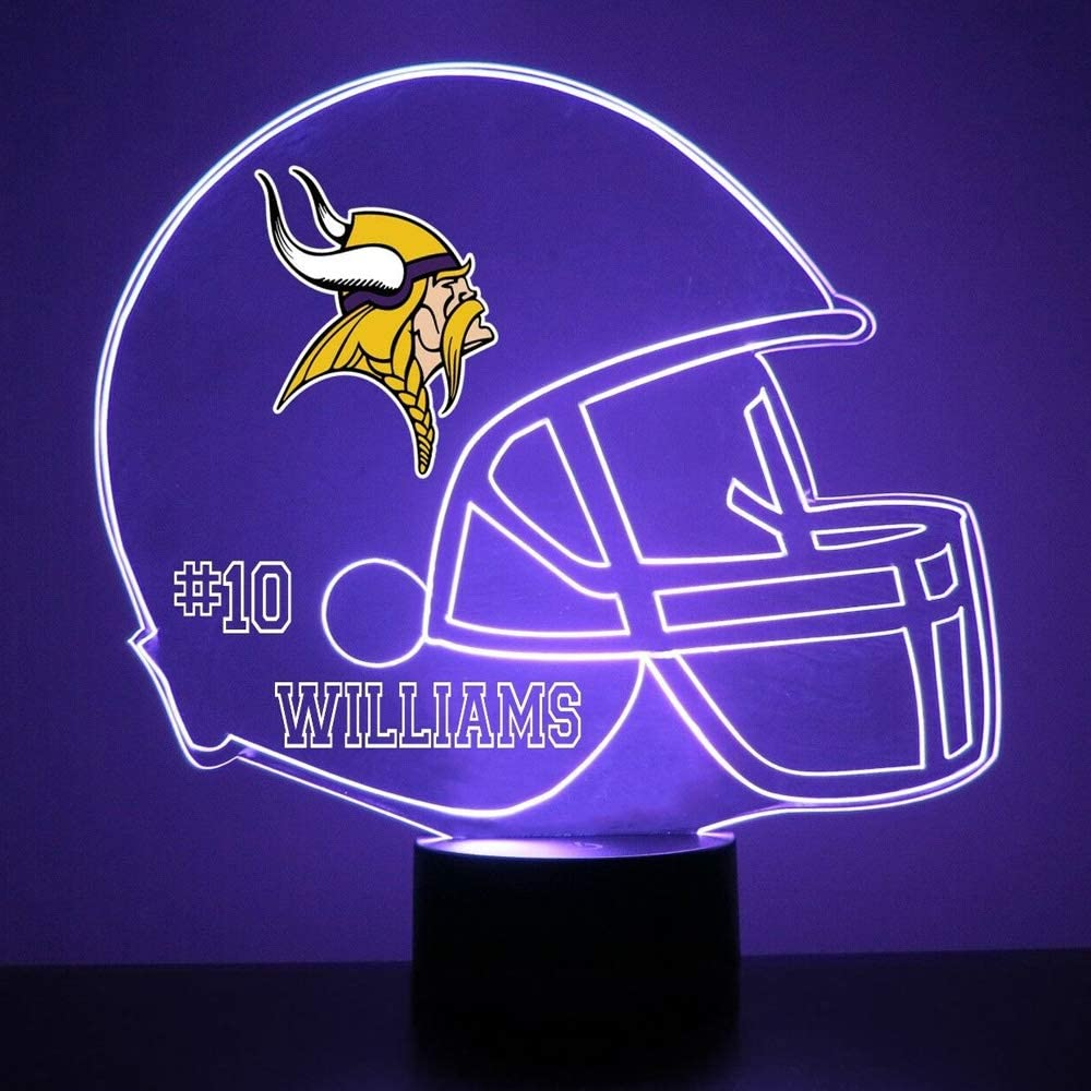 Mirror Magic Light Up LED Lamp - Football Helmet Night Light for Bedroom with Free Personalization - Features Licensed Decal and Remote (Minnesota Vikings)