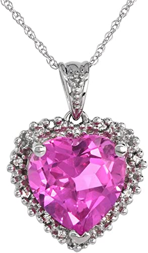 1 Carat Pink Sapphire Heart /& Diamond Stud Earrings White Gold Silver