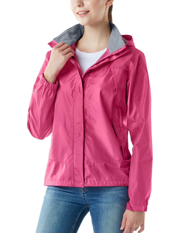 Tesla TM-FET02-DPK_Small Women's Lightweight Water Proof Outdoor Raincoat Watertight Rain Defender Hooded Packable Jacket FET02