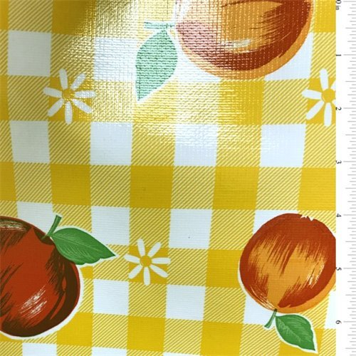 Fruit & Daisy Checkered Oilcloth, Fabric By the Yard (Yellow) ()