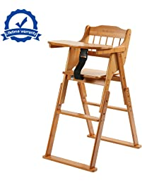 wooden folding baby high chair with