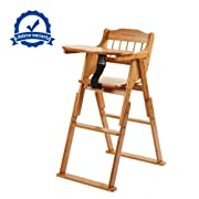 Wooden Folding Baby High Chair with Tray Adjustable Bamboo Height Chair
