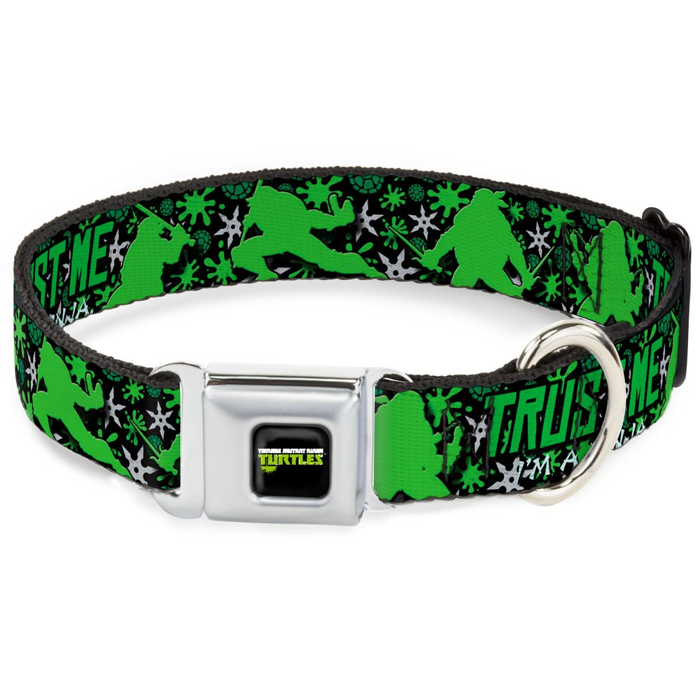 Buckle-Down Seatbelt Buckle Dog Collar Trust ME I'm A Ninja New Series Turtle Silhouettes Black Green 1  Wide Fits 11-17  Neck Medium