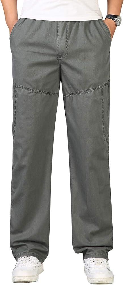 ZOEREA Pantalones para Hombres con Bolsillos Laterales Cintura Elástica Algodón Recto Ancho Casual Elegantes Hombre Pantalón Regulares Ejercito Verde, M: Amazon.es: Ropa y accesorios