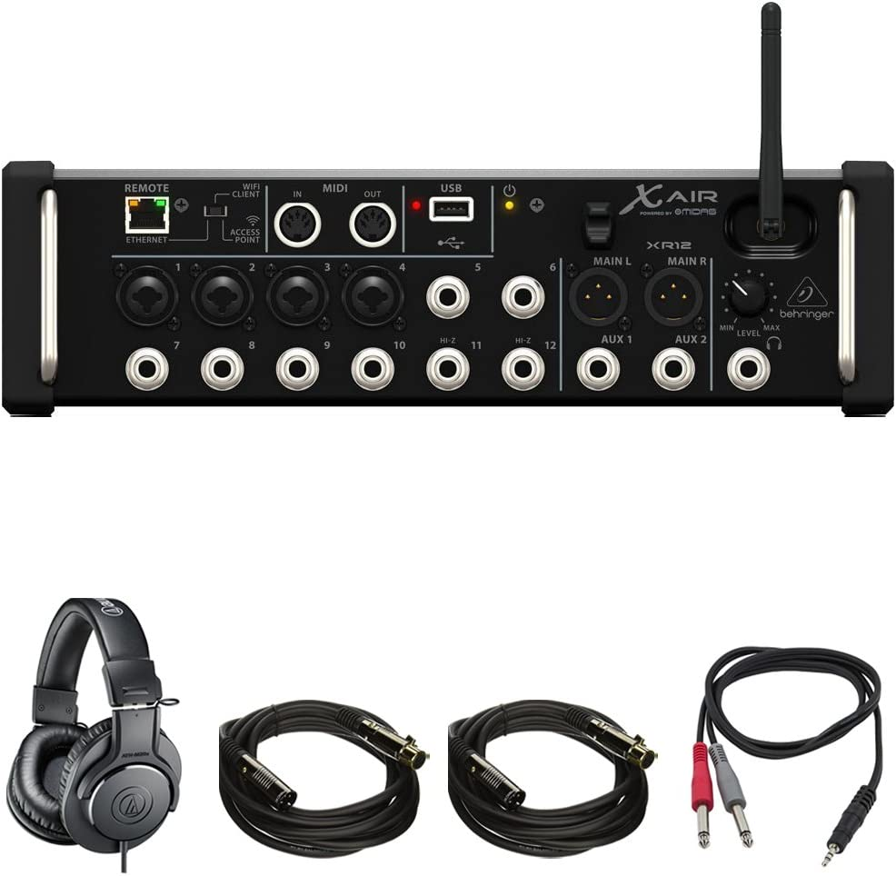 Behringer X-Air XR12 12-Input Digital Mixer with Gator Gig Bag /& XLR Cables *NEW