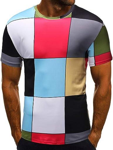 Camisetas Deporte Hombre Camiseta de Manga Corta de Verano para Hombre Camisetas Fitness Hombre Camisetas Futbol Hombre Manga Corta Camisa Hombre Slim fit Camiseta para Hombres con Moda impresión: Amazon.es: Ropa y