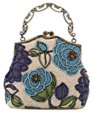 ILISHOP Women's Vintage Evening Bag Luxury Printing Beaded Evening Clutch Handbags On Sale (Blue)