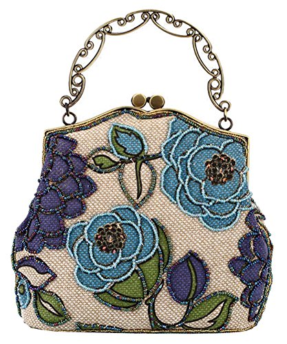 Beaded Vintage Clutch - ILISHOP Women's Vintage Evening Bag Luxury Printing Beaded Evening Clutch Handbags On Sale (Blue)